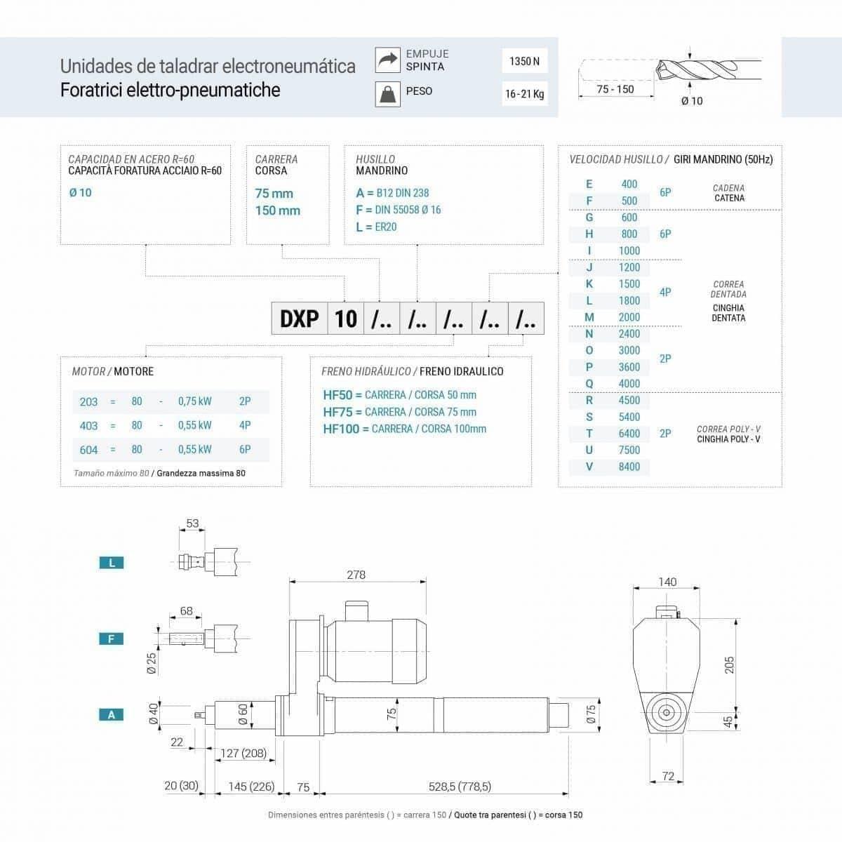 Foratrici elettro-pneumatiche DXP10.75